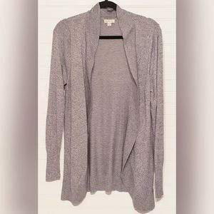 Heather Gray Open Front Waterfall Cardigan